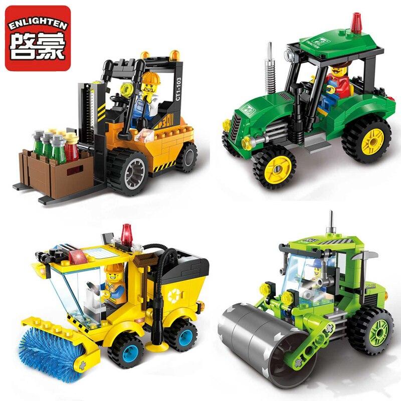ENLIGHTEN City Series Road Roller Forklift Truck Tractor Sweeper Truck Building Blocks Minifigure Kids Toy Compatible with Legoe