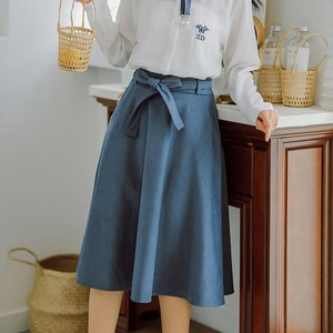 Image 5 - Elegant Women Skirt High Waist Pleated Knee Length Skirt Vintage A Line Big Bow Skirts