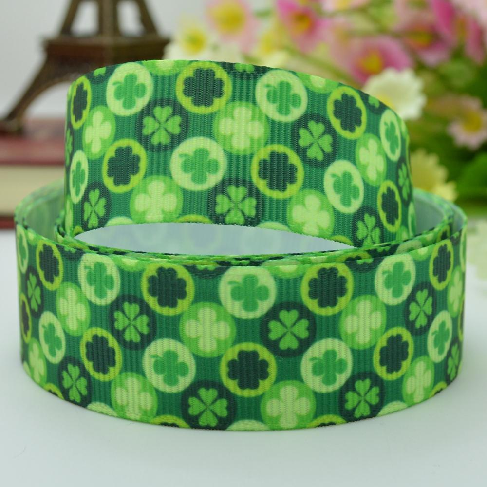 Saint Patricks day four-leaf clover fabric bow materials 22mm print grosgrain ribbon 7/8 birthday gift paking character