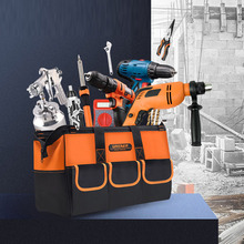 Купить с кэшбэком New 2019 13/15/17/19 Inches Oxford Cloth bag Top Wide Mouth Electrician bags Waterproof Tool bag Travel Bags