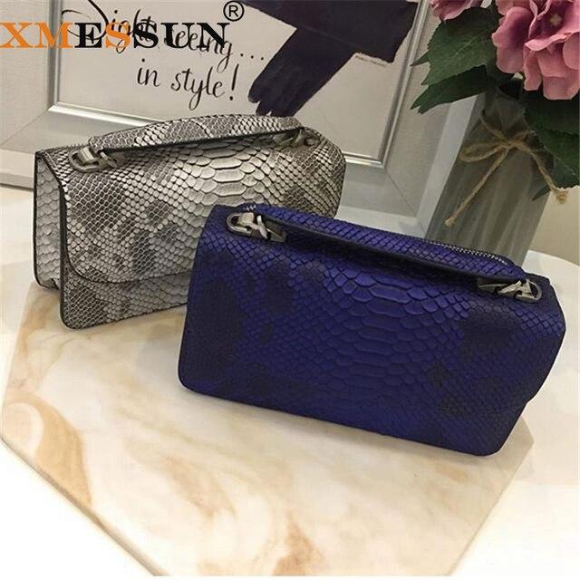 XMESSUN 2020 hakiki Python cilt bayan zincir çapraz vücut çanta yılan deri çanta kadın el çantası