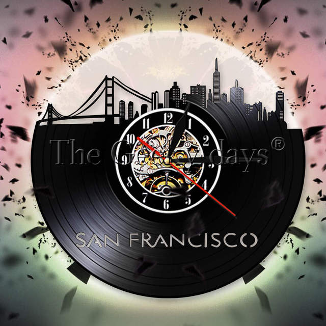 San Francisco Skyline Vinyl Record Wall Clock Usa S F Cityscape Decor Golden Gate Bridge