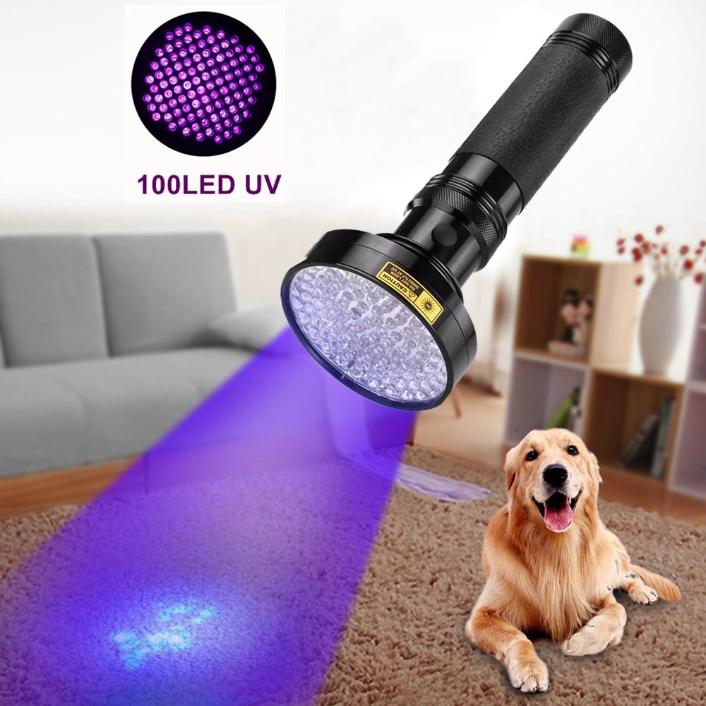 ALONEFIRE 18W Aluminum Shell Ultraviolet light For 6xAA Anti-fake UV 100 LED 100LED UV Flashlight Money Detector