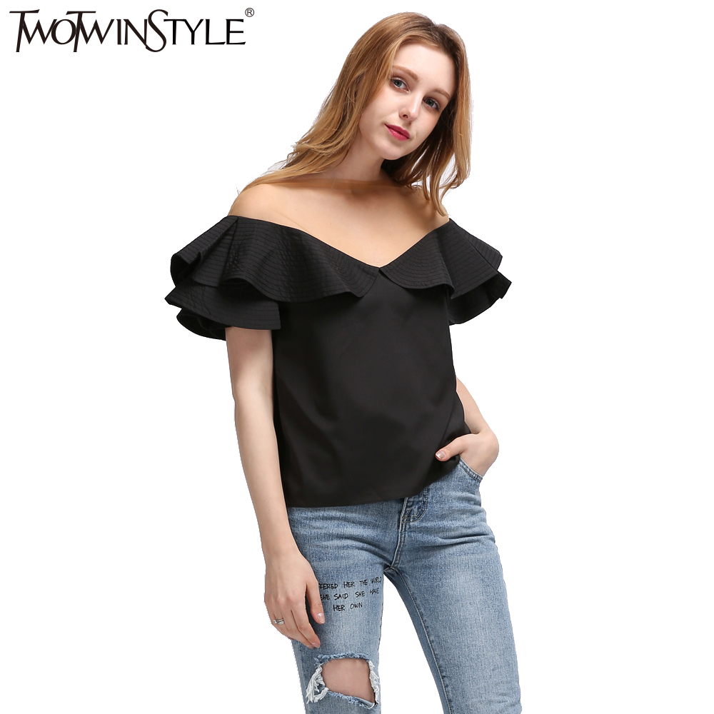 TWOTWINSTYLE 2017 Summer Women Ruffles Short Sleeves Tops T Shirt Sexy Transparent Tulle Slash Neck Tee Female Clothes Korean