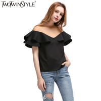 TWOTWINSTYLE 2017 Spring Ruffles Sleeve Spliced See Through Mash Sex Ladies T Shirt Women Tops