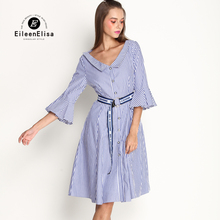 Фотография Woman Summer Striped Dress with Vertical and Sashes Women Runway Blue Dress