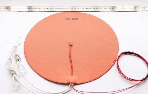 Funssor 110V/220V 500W Circular Dia 300mm round Silicone Heater Round HeatBed Pad with Thermistor For Delta Kossel 3D printer