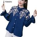 Moda Flor Del Bordado Camisetas Para Las Mujeres Linterna Mangas Escote Redondo Mujeres Camisetas 2017 Nueva Primavera Flojo Ocasional Tops