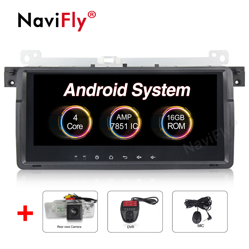 NaviFly 8.8'' Capacitive screen Android8.1 Car Audio gps dvd player For BMW E46 M3 318/320/325/330/335 with RDS OBD2 View camera