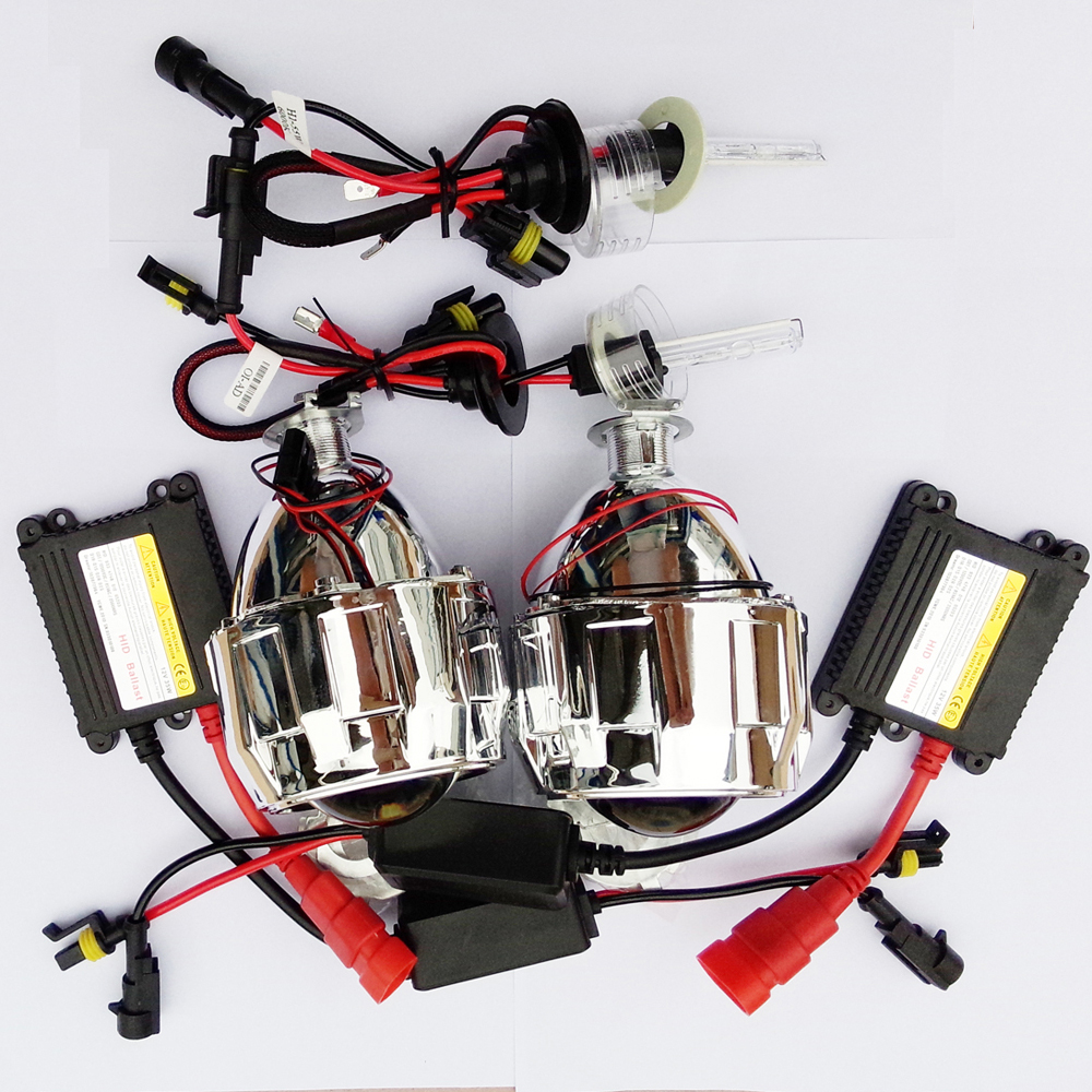 Bi xenon HID 2 5inch Projector Lens with 12V AC 35W Xenon kit H1 Parking Car