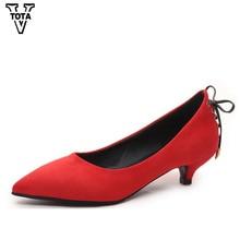 Vtota Весенне-осенние женские туфли-лодочки Женские ботинки с острым носком удобная женская обувь после на шнуровке женские шпильки HPL70