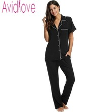 Avidlove Stylish Women Cotton Pajama Sleep & Lounge Cloth Casual Solid Soft Sleepwear Turn-down Collar Short Sleeve Nightgown