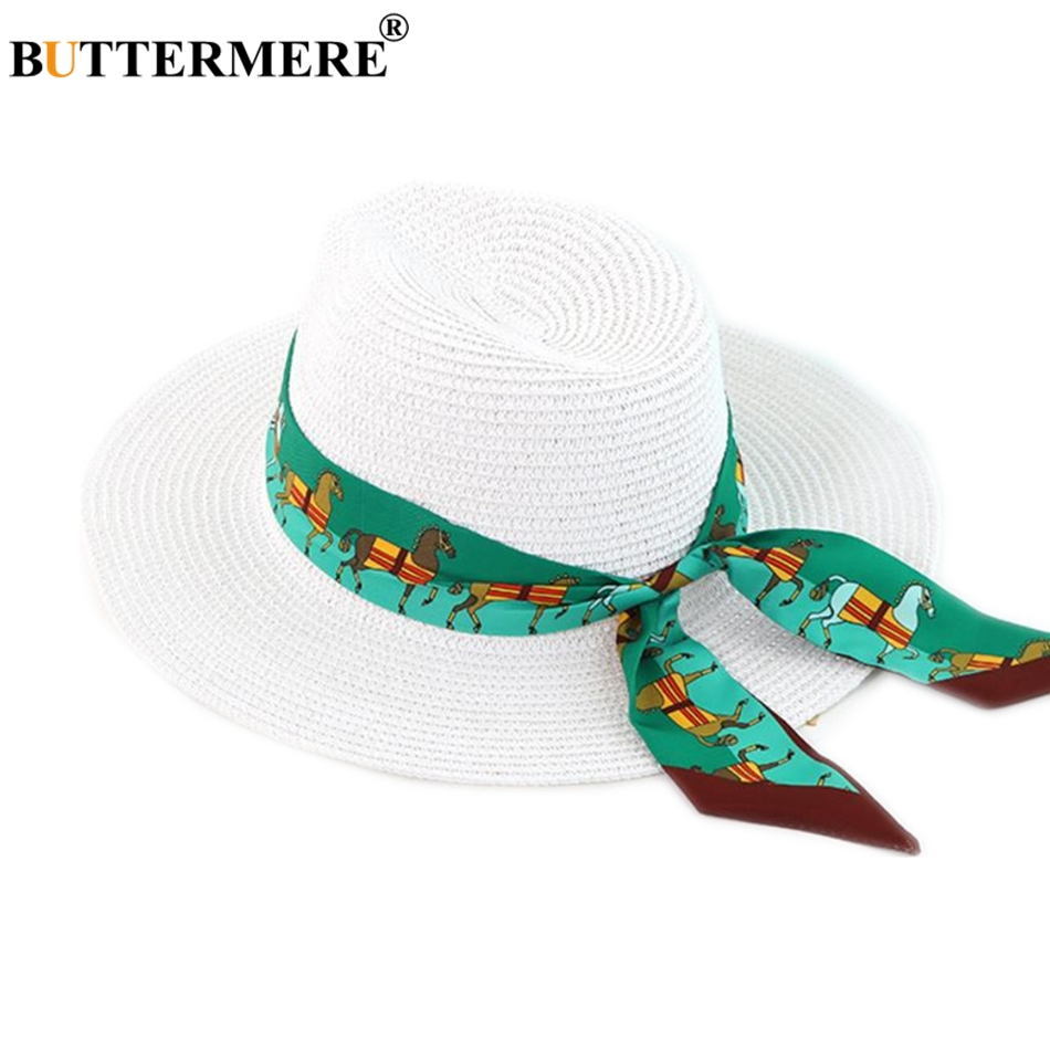 BUTTERMERE Hat Women Summer Sun Hat Black White Straw Ladies Hats Ribbon Decoration Fedora Brand Female Panama Hat in Men 39 s Sun Hats from Apparel Accessories