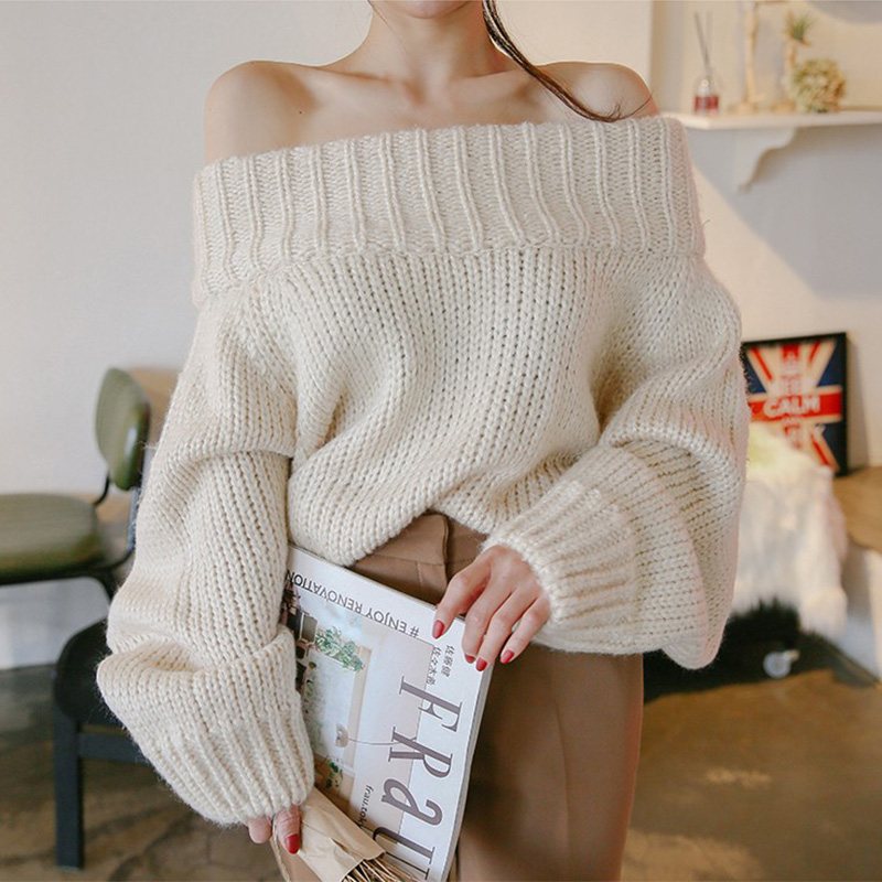 Womens Sweaters 2018 Winter Korean Fashion Chic Off Shoulder Sweater Pullover Women Lantern Sleeve Knitted Oversized Sweater