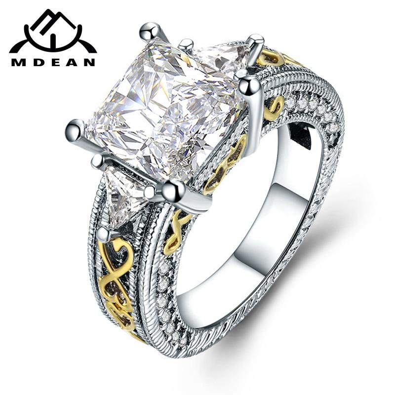 MDEAN Bijoux prsten bílé prsteny bílé barvy pro ženy Móda AAA Zircon šperky prsten Bague Dámské prsteny Příslušenství MSR825