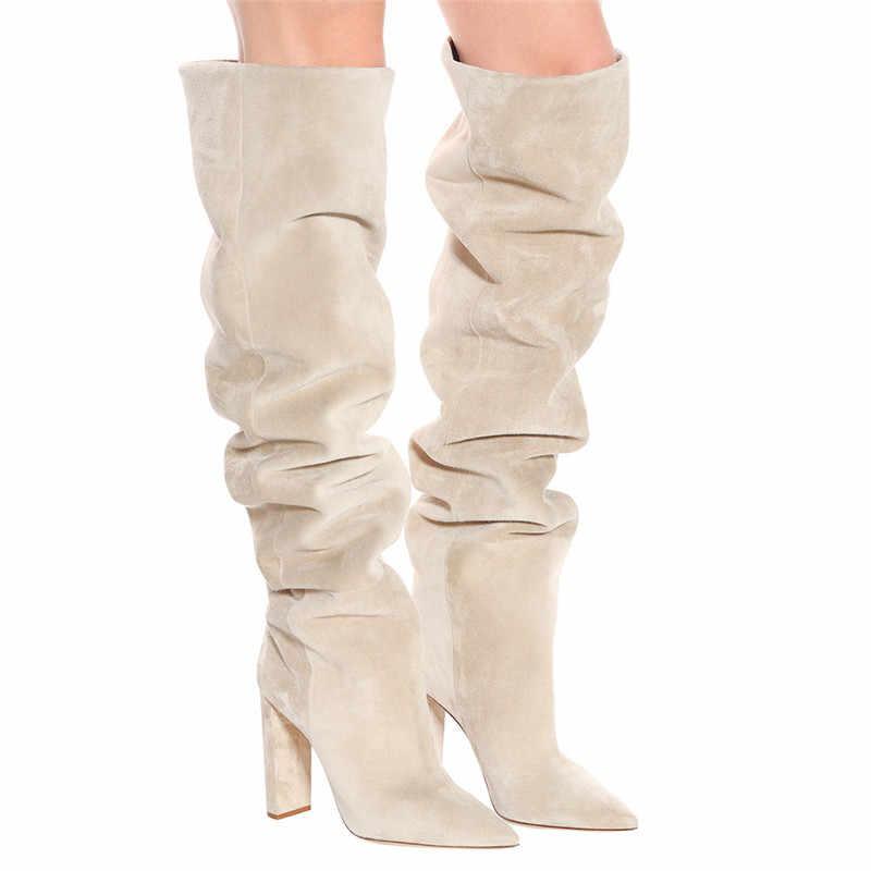 COCOAFOAL moda kadın kovboy çizmeleri diz yüksek çizme kadın ayakkabı seksi orta buzağı çizmeler sivri burun düz diz yüksek çizmeler 2019