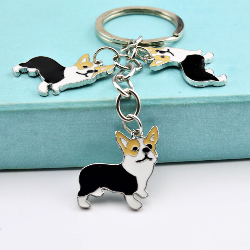 Metal PET Key Chain welsh Corgi Dogs Key Ring Bag charm Wholesale Lovely Keychain Car Keyring gift Women Jewelry Drop shipping цена 2017
