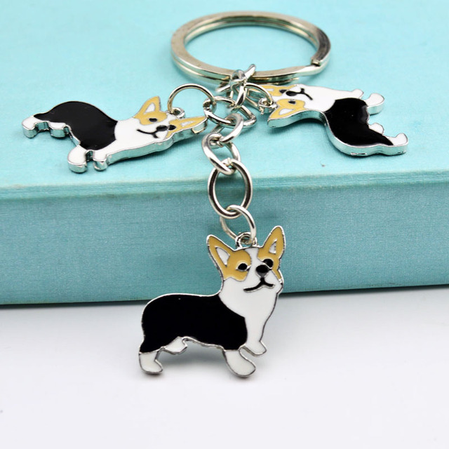 PET Key Chain welsh Corgi Dog Figure Dogs Key Ring charm Wholesale Lovely Keychain Car Keyring gift Women Jewelry Drop shipping