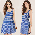 Vintage navy blue stripe dress for girls summer dress royal blue
