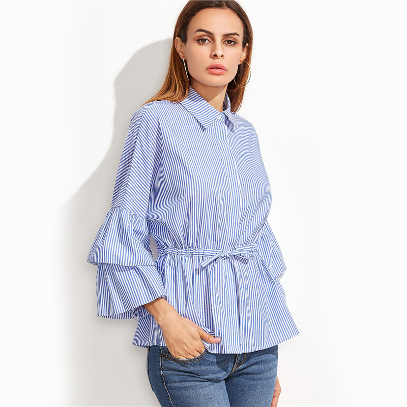 d9d12215954 Sheinside Fall Women Clothes Womens Long Sleeve Top Brand Blue Vertical  Striped Ruffle Collar Cold Shoulder Blouse USD 24.98 piece