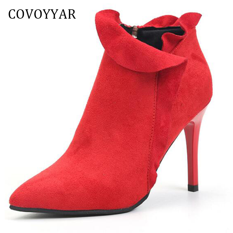 COVOYYAR 2018 Sexy Pointed Toe Ankle Boots Autumn Fashion Ruffles Lady Thin High Heels Side Zip Flock Women Martin Boots WBS789 spring autumn women shoes ankle boots flock bling high thin heels fashion sexy pointed toe zip zipper big size embroidery flower