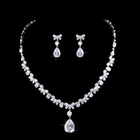 Platinum Plated Cubic Zirconia Bow And Teardrop Necklace And Earring Bridal Jewelry Set