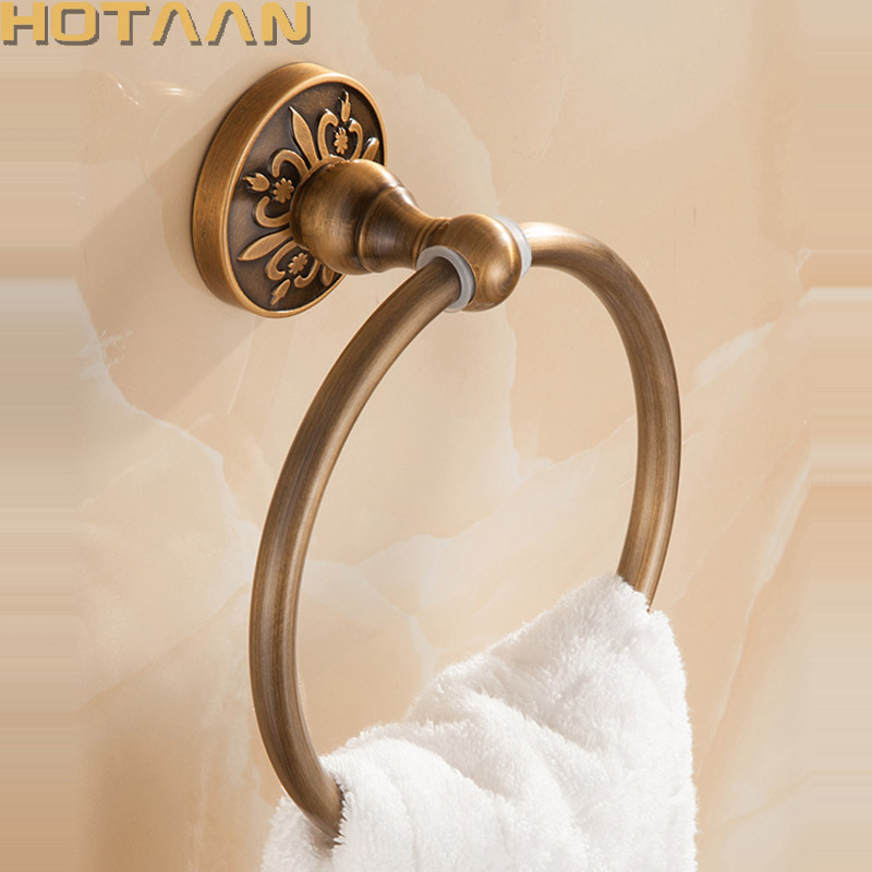 Bathroom Towel holder, Solid Aluminium Wall-Mounted Round Antique Brass Towel Ring ,Towel Rack Classic Bathroom Accessories