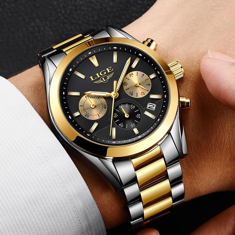 2018 Nouveau LIGE Hommes Montre Top Marque De Luxe Étanche En Acier Inoxydable Quartz Montres Hommes Sport Fashio Noir Horloge Reloj Masculino