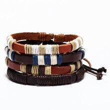 Mcllroy pulseras de cuero auténtico cinturón de cuerda cadena brazalete pulsera ajustable de moda de la pulsera de los hombres joyería joyeria dropshipping. exclusivo.