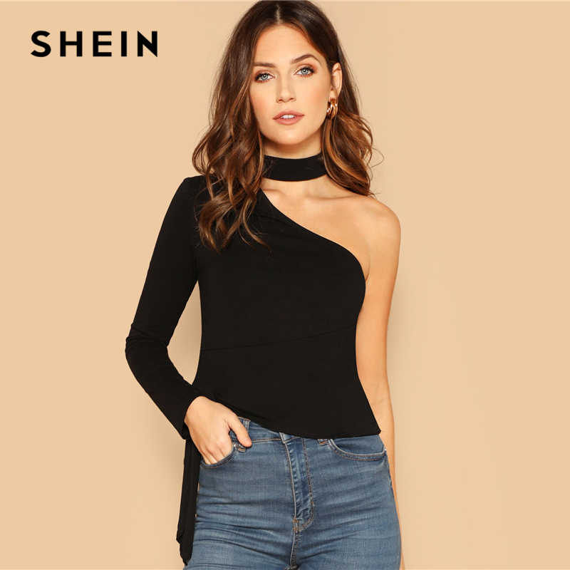 53d79ebf1f SHEIN Black Choker Neck One Shoulder Knot Side Top Party Long Sleeve Plain  Halter Slim Fit