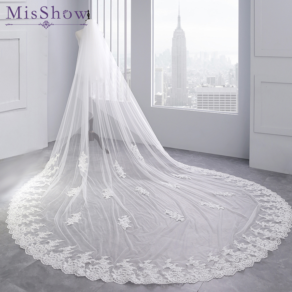 3.5 Meter White Ivory Cathedral Wedding Veils Long Lace Edge Bridal Veil Two Layer Veil Comb Wedding Accessories Velo Novia 2019