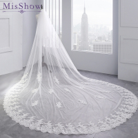 3.5 Meter White Ivory Cathedral Wedding Veils Long Lace Edge Bridal Veil two layer veil comb Wedding Accessories velo novia 2018
