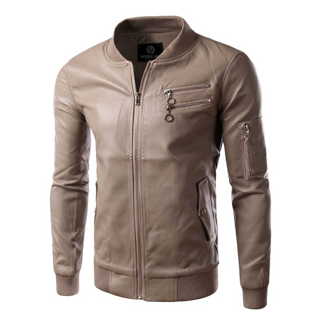 New Leather Jacket Men 2015 Fashion Pu Leather Design Mens Slim Fit Motorcycle Biker Jacket Brand Veste Cuir Homme Jaqueta Couro