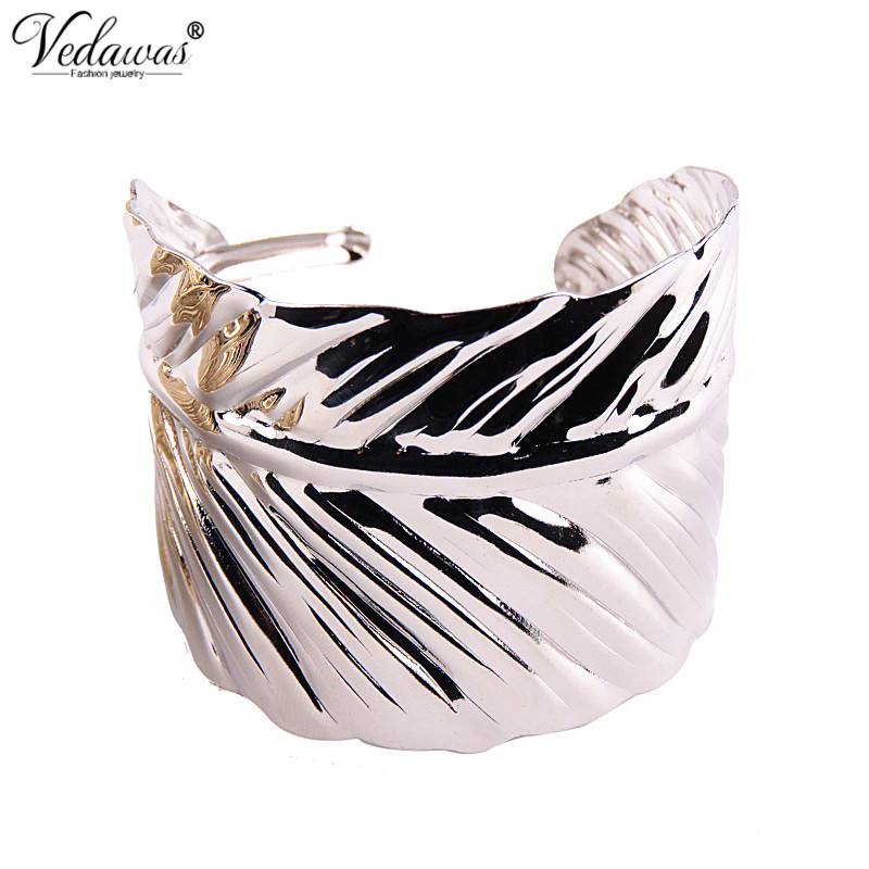 Vedawas boho antic silver/gold cuff metal leaves shape bangle bohemia antalya carve pattern Statement bracelets & bangles xg824