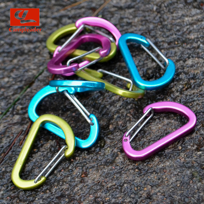 Campleader 5pcs/set 2cm Mini Multi Color Aluminum Alloy Carabiner D-Ring Key Chain Clip Camping Keyring Snap Hook Outdoor CL072