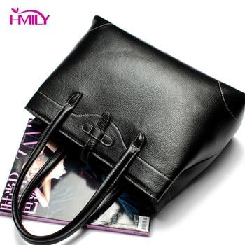 HMILY Women Handbag Genuine Leather Female Shoulder Bag Classic Style Socialite Messenger Bag Super Light Daily Crossbody Bag