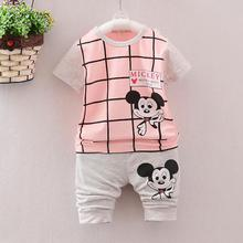 Hot 2016 Newborn Baby Boy Clothes Sets Cartoon Mickey Casual Kids Minions Suits Infant Girl Children Clothing 2pcs T Shirt+pant