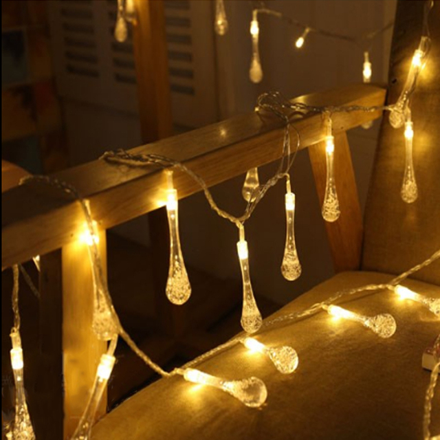 5m 20 led raindrop led christmas lights multicolor outdoor string lights for outside garden patio party