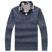 Fashion V Neck Shirt Collar Mens Pullovers Sweater Thick Warm Fleece Male Solid Color Jumper Winter