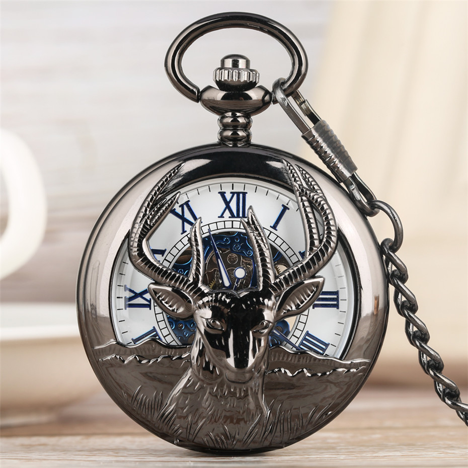 New Arrival 2019 Retro Black Goat Head Design Half Hunter Mechanical Hand Winding Pocket Watch Blue Roman Numerals Pendant Clock