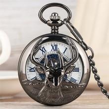 Reloj de bolsillo mecánico de estilo Retro con diseño de cabeza de cabra negra, cuerda manual, colgante con números romanos azules, novedad de 2019