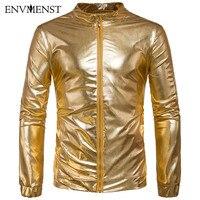 2017 New Autumn Jackets Men Luxury Shiny Jacket Fashion Nightclub Clothing Glittering Silver Golden Jacket Coat Rockabilly Men
