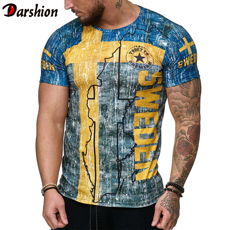 Summer Spanish Flag Jerseys Men Shirts Swedish Letter 3D Printing Men's T-shirt Breathable Streetwear Casual Clothing  XXS-4XL