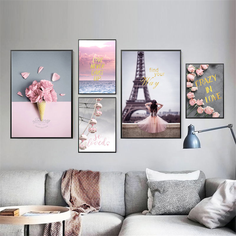 Us 318 51 Offnordic Ins Simple Living Room Wall Decoration Painting Pink Childrens Bedroom Painting Wall Sofa Background Picture Hd2583 In