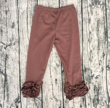 Wholesale 2016 High quality baby icing ruffle pants solid color childrens ruffle best selling icing leggings triple ruffle pants фото