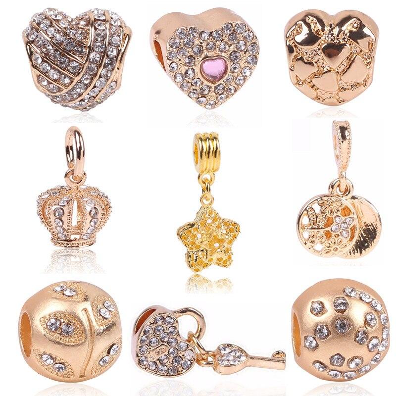 Rose Gold Crystal Beads Fit Pandora Bracelet Necklace Heart Charms Fashion Women Jewelry Big Hole DIY