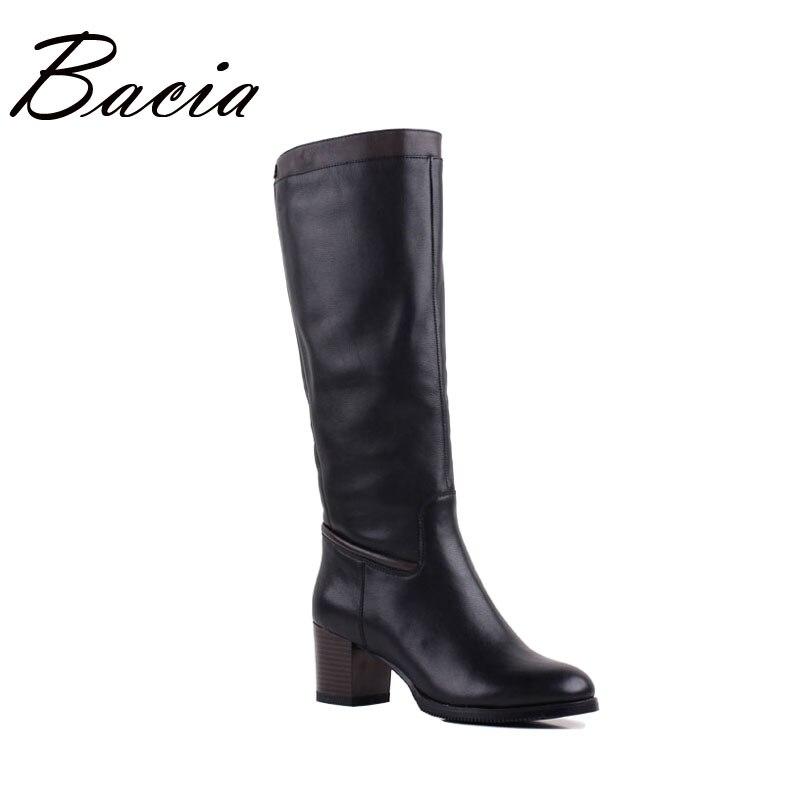 Bacia Femmes Qualité Bottes En Cuir Véritable Chaussures Hiver Chaud Laine Fourrure Bottes Noir Genou Haute Neige Bottes Russe taille 36 -40 VF006
