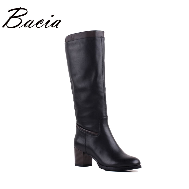 Bacia Women Quality Boots Genuine Leather Shoes Winter Warm Wool Fur Boots Black Knee High Snow Boots Russian size 36-40 VF006 bacia russian original design boots knee high platform boot genuine leather quality shoes handmade footwear women botas vc001