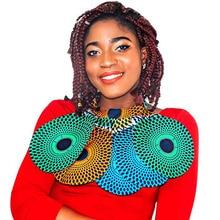 Shenbolen African Ankara Chokers Necklaces Print Fabric False Collar Colorful Detachable Handmade Jewelry