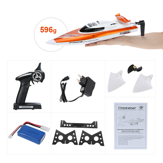 Hot Sale RC Boat FEI LUN FT009 2.4G 4CH Water Cooling System Self-righting 30km/h High Speed Racing RC Boat
